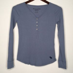 Abercrombie Kids Blue LS Ribbed Henley Size 13/14